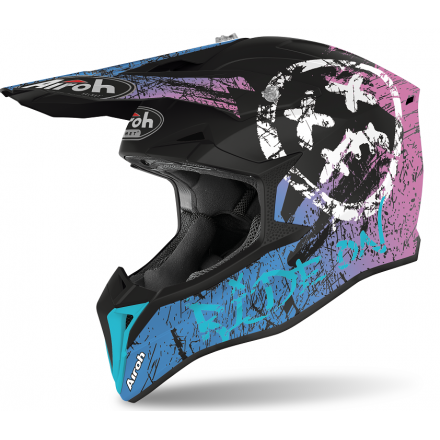 Casco moto cross enduro motard off road Airoh Wraap Smile viola violet matt WRSM54 helmet casque