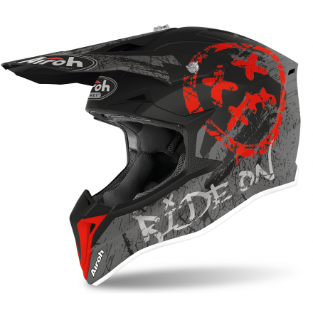 Casco moto cross enduro motard off road Airoh Wraap Smile rosso red matt WRSM55 helmet casque