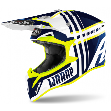 Casco moto cross enduro motard off road Airoh Wraap Broken blu gloss WRBR18 helmet casque