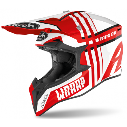 Casco moto cross enduro motard off road Airoh Wraap Broken rosso red gloss WRBR55 helmet casque