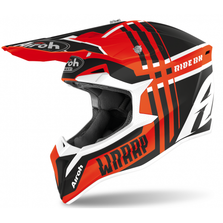 Casco moto cross enduro motard off road Airoh Wraap Broken arancione opaco orange matt WRBR32 helmet casque