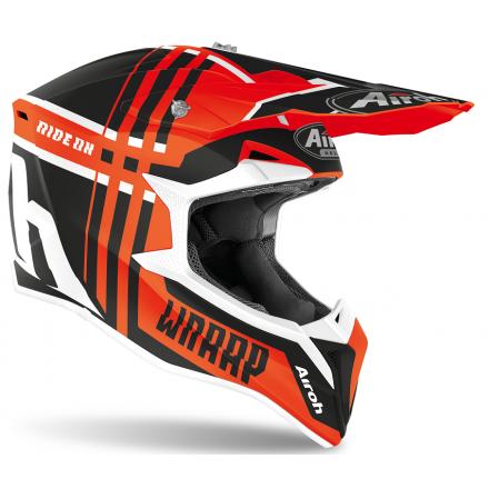 Casco moto cross enduro motard off road Airoh Wraap Broken arancione opaco orange matt WRBR32 helmet casque