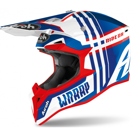 Casco moto cross enduro motard off road Airoh Wraap Broken blu rosso blue red gloss WRBR38 helmet casque