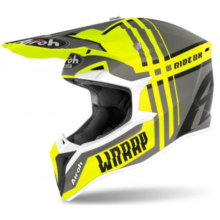 Casco moto cross enduro motard off road Airoh Wraap Broken giallo opaco yellow matt WRBR31 helmet casque