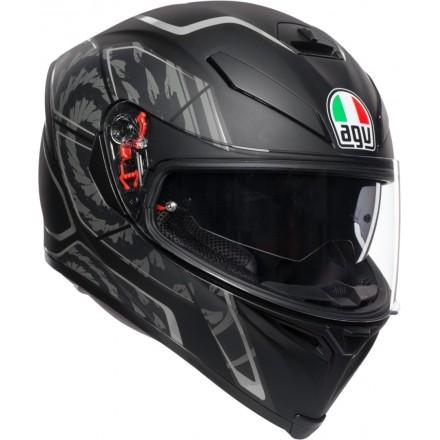 Casco integrale moto fibra Agv K-5 s Pinlock Tornado nero opaco grigio mat black silver helmet casque