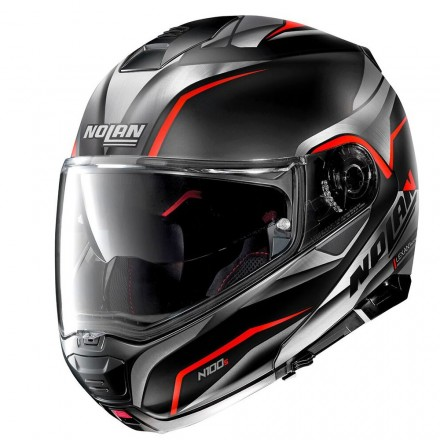 Casco modulare apribile moto Nolan N100-5 Balteus N-com nero opaco rosso flat black red 42 flip up helmet casque