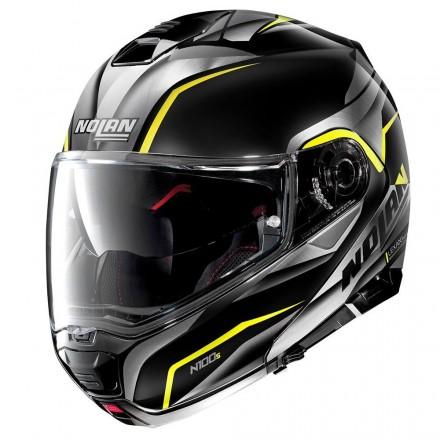 Casco modulare apribile moto Nolan N100-5 Balteus N-com nero opaco giallo flat black yellow 43 flip up helmet casque