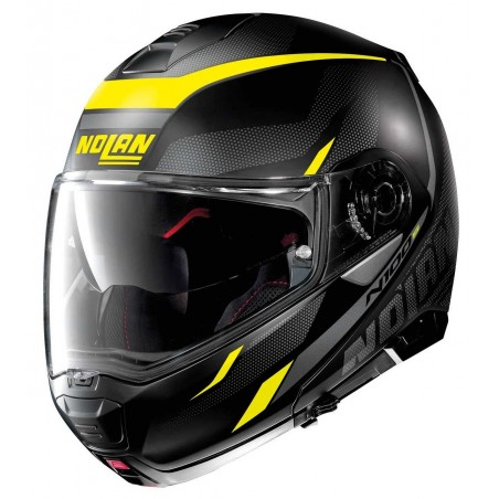 Casco modulare apribile moto Nolan N100-5 Lumiere N-com nero opaco giallo flat black yellow 37 flip up helmet casque