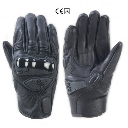 Guanti pelle moto Oj Rave nero black leather gloves