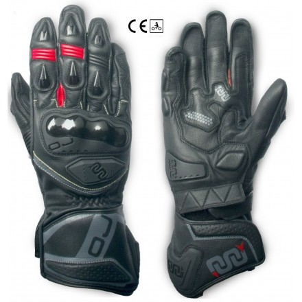 Guanti lunghi pelle moto racing pista Oj Feat nero black long leather gloves