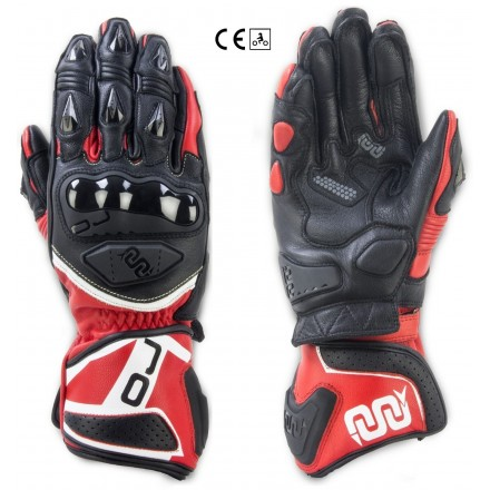 Guanti lunghi pelle moto racing pista Oj Feat nero rosso black red long leather gloves