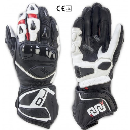 Guanti lunghi pelle moto racing pista Oj Feat nero bianco rosso black white red long leather gloves