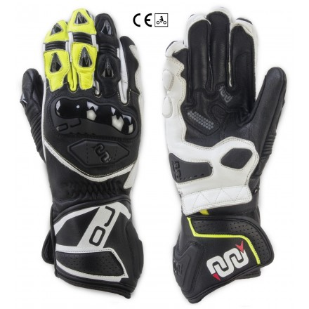 Guanti lunghi pelle moto racing pista Oj Feat nero bianco giallo black white yellow long leather gloves