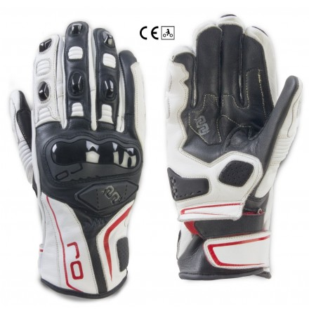 Guanti pelle moto sportivi Oj Spin bianco nero rosso white black red leather gloves
