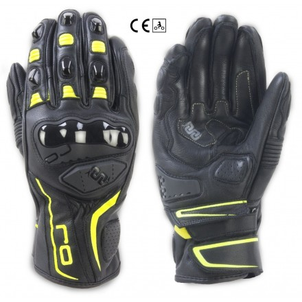 Guanti pelle moto sportivi Oj Spin nero giallo black yellow leather gloves