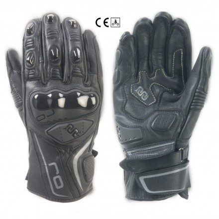 Guanti pelle moto sportivi Oj Spin nero black leather gloves