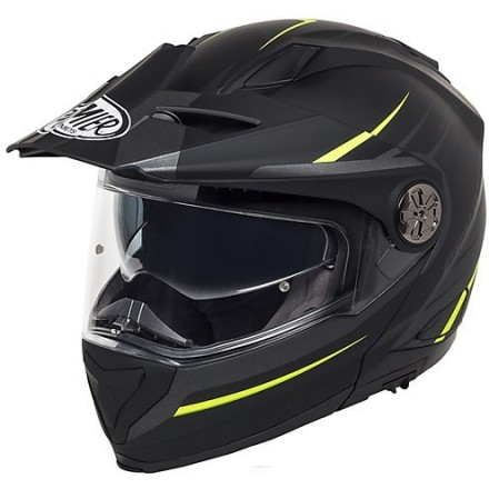 Casco modulare apribile enduro touring adventure moto Premier X-trail nero opaco giallo matt black yellow Helmet casque
