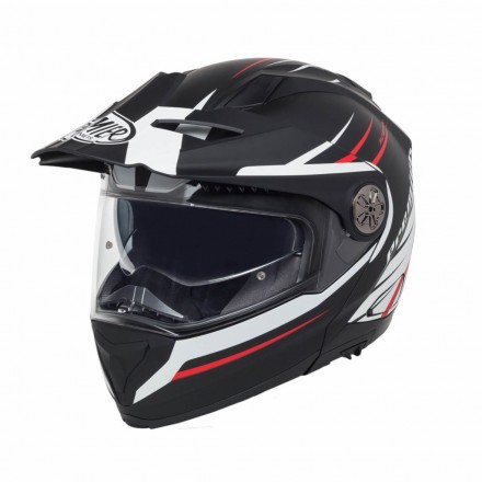 Casco modulare apribile enduro touring adventure moto Premier X-trail nero opaco bianco rosso matt black white red Helmet casque