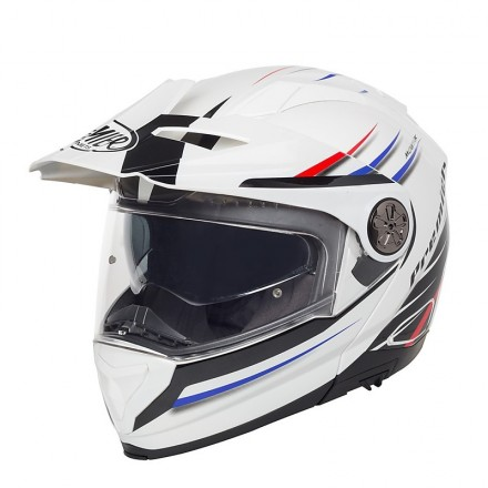 Casco modulare apribile enduro touring adventure moto Premier X-trail bianco rosso blu white red blue Helmet casque
