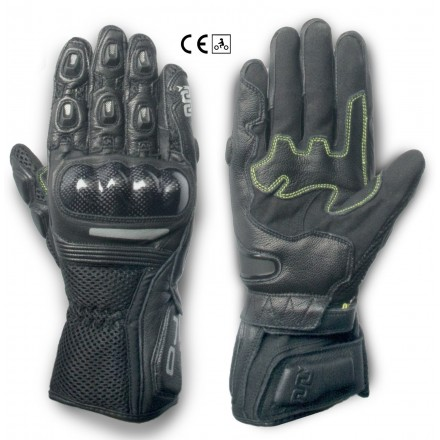 Guanti pelle moto primavera estate Oj Hit nero black spring summer leather gloves