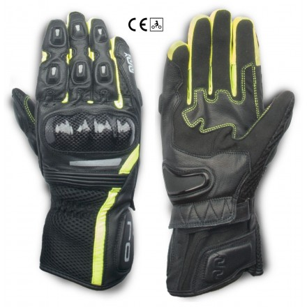 Guanti pelle moto primavera estate Oj Hit nero giallo black yellow spring summer leather gloves