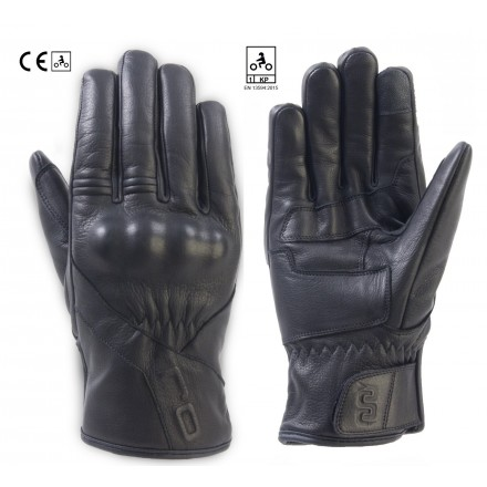 Guanti pelle impermeabili moto Oj Dark nero black leather waterproof gloves