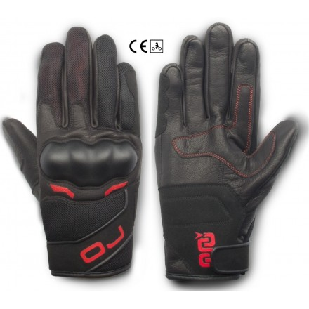Guanti pelle tessuto primavera estate moto Oj Sneak rosso red texile leather spring summer gloves
