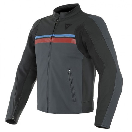 Dainese HF 3 black red blue Giacca pelle nero rosso blu moto vintage cafe racer classic scrambler leather jacket