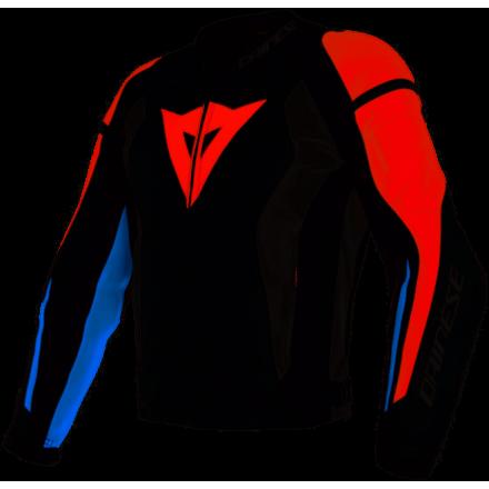 Giacca pelle moto Dainese Nexus nero bianco rosso blu black lava red white blue leather jacket