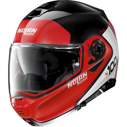 Nolan N100-5 Plus distinctive red black white 27 Casco modulare apribile rosso nero bianco moto flip up helmet casque