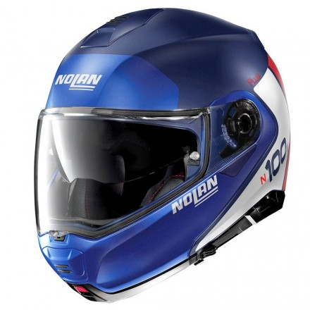 Nolan N100-5 Plus distinctive imperator blue white red Casco modulare apribile blu opaco bianco rosso moto flip up helmet casque
