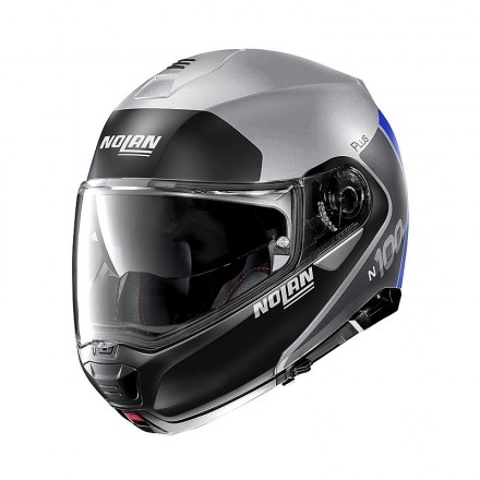 Nolan N100-5 Plus distinctive flat silver black blu 30 Casco modulare apribile argento opaco nero blu moto flip up helmet casque