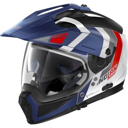 Casco crossover jet integrale modulare moto N70-2 X Decurio 33 bianco rosso blu N-com white red blue helmet casque