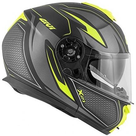 Casco modulare apribile moto Givi X21 hx21 Challenger Shiver nero opaco giallo mat black yellow fluo flip up helmet casque