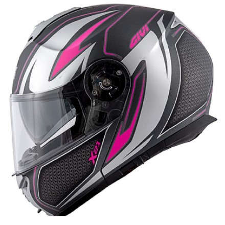 Casco donna modulare apribile moto Givi X21 hx21 Challenger Shiver lady fucsia woman girl flip up helmet casque