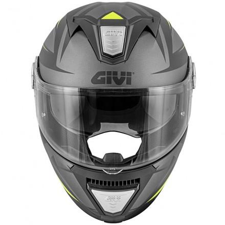 Casco modulare apribile moto Givi X23 Sydney Pointed nero opaco titanio giallo black mat titanium yellow Flip up Helmet casque
