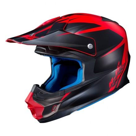 Hjc Fx-cross Axis Mc1sf nero opaco rosso matt black red Casco motocross enduro offroad motard fibra fiber helmet casque