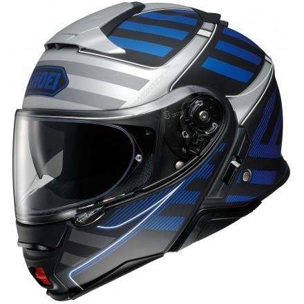 Casco modulare moto Shoei Neotec 2 Splicer Tc-2 nero argento blu black silver blue flip up helmet casque