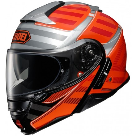 Casco modulare moto Shoei Neotec 2 Splicer Tc-8 nero arancione black orange flip up helmet casque