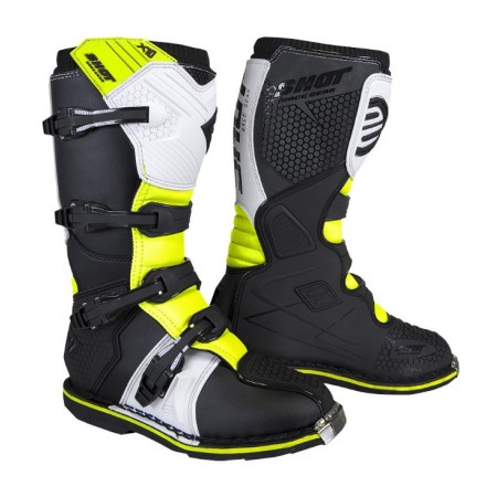 Stivali moto cross Shot X10 2.0 nero bianco giallo black white neon yellow off road enduto motard boots