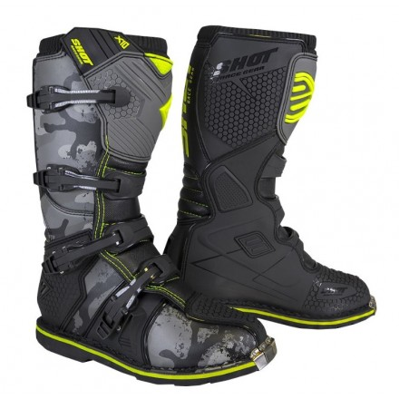 Stivali moto cross Shot X10 2.0 nero black camo off road enduto motard boots