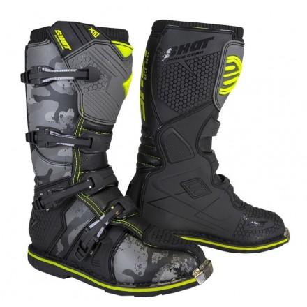 Stivali moto cross Shot X10 2.0 nero black camo off road enduto motard boots