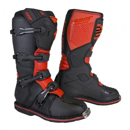 Stivali moto cross Shot X10 2.0 nero rosso black red off road enduro motard boots