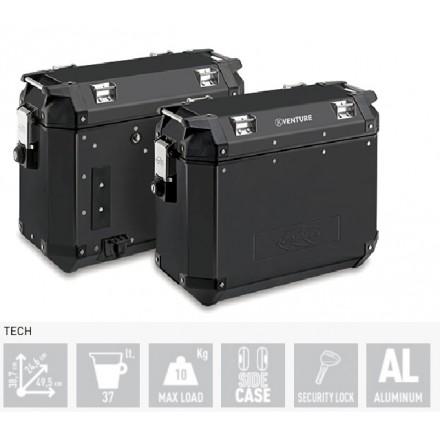Valigie laterali alluminio nero moto Kappa KVE37bpack2 K venture 37 litri alluminium black side cases