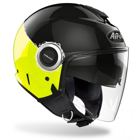 Casco jet moto Airoh Helios fluo nero giallo black yellow gloss visiera lunga e visierino da sole  helmet casque