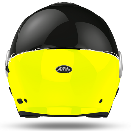 Casco jet moto visiera lunga e visierino da sole Airoh Helios fluo nero giallo black yellow gloss helmet casque