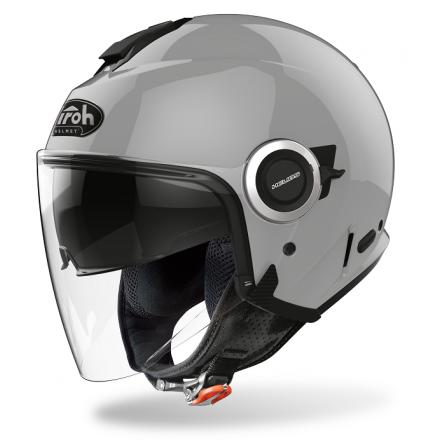 Casco jet moto visiera lunga e visierino da sole Airoh Helios concrete grey gloss helmet casque