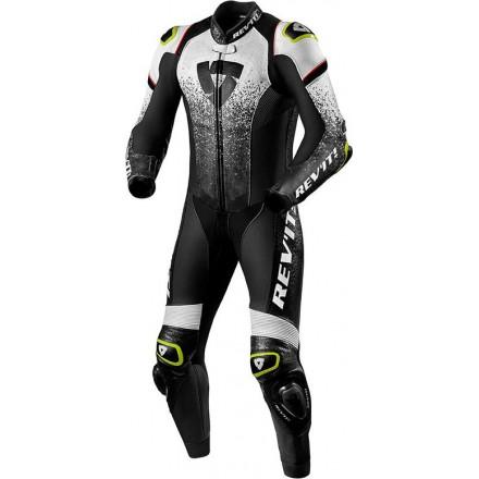 Tuta intera pelle racing pista corsa sport Revit Quantum Nero bianco black white one piece leather suit