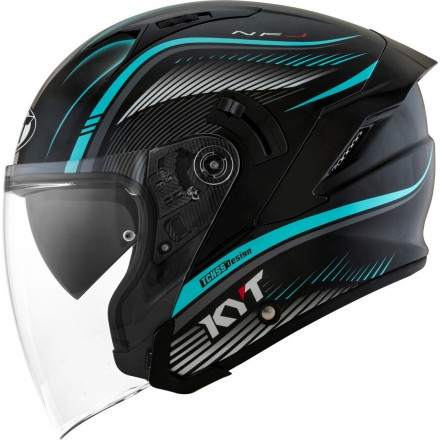 Casco jet moto visiera lunga Kyt NF-J Radar aqua blu helmet casque