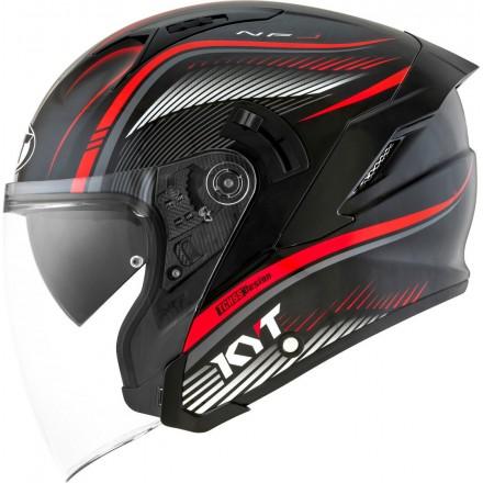 Casco jet moto visiera lunga Kyt NF-J Radar rosso red helmet casque